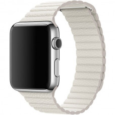 Apple Watch kožený řemínek 42mm M bílý